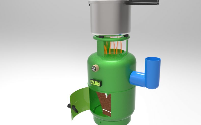 Smokeless green gas cylinder stove with wood drier