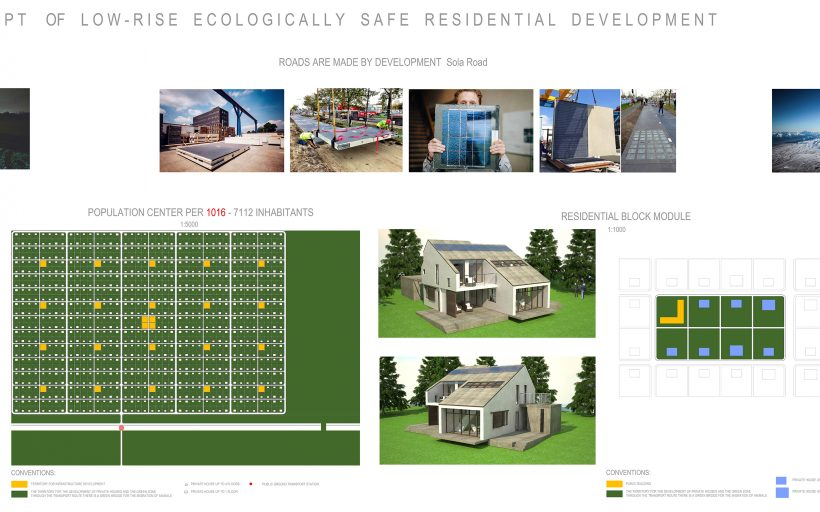 Concept of low-rise ecologically safe residential development.